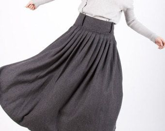 Blue linen skirt maxi skirt women long skirt 900 por xiaolizi