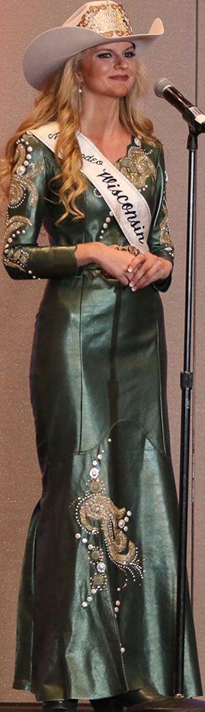 Beth Kujala, Miss Rodeo Wisconsin 2016, in a pearlized evergreen lambskin dress designed by Kristi Q.