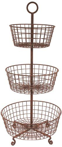 High Quality Creative Co Op Rust Metal 3 Tier Basket