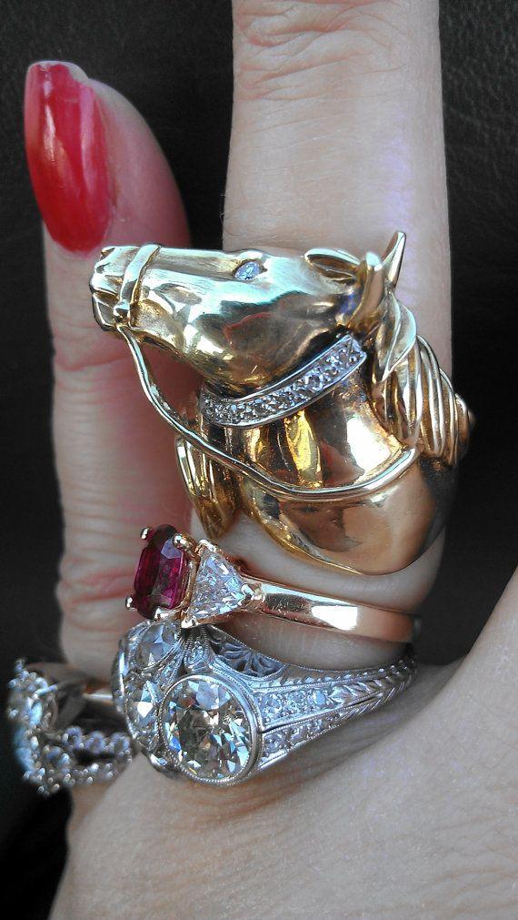 Ring 14k Gold Maurice Katz Diamonds Horse Head Horse
