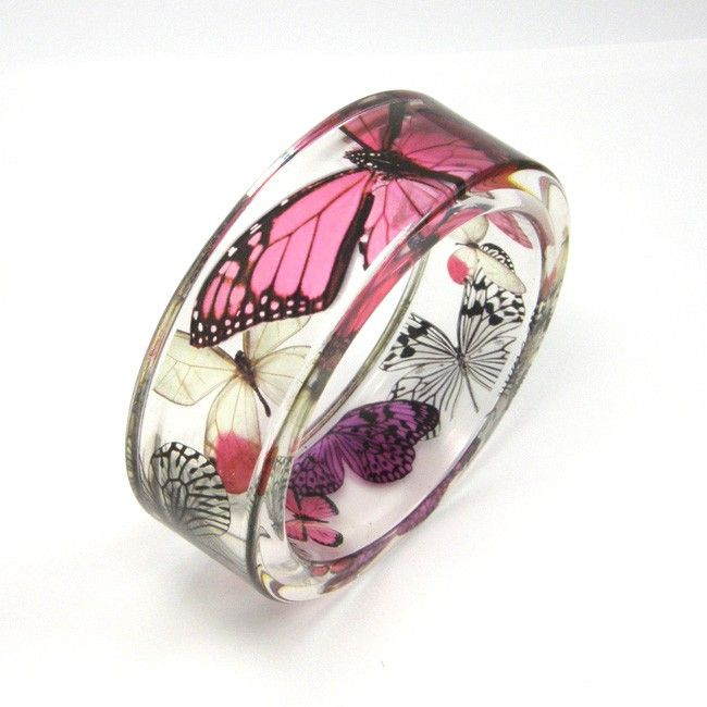 Fuchsia, pink and Purple Butterflies Resin Bangle. $50.00, via Etsy.
