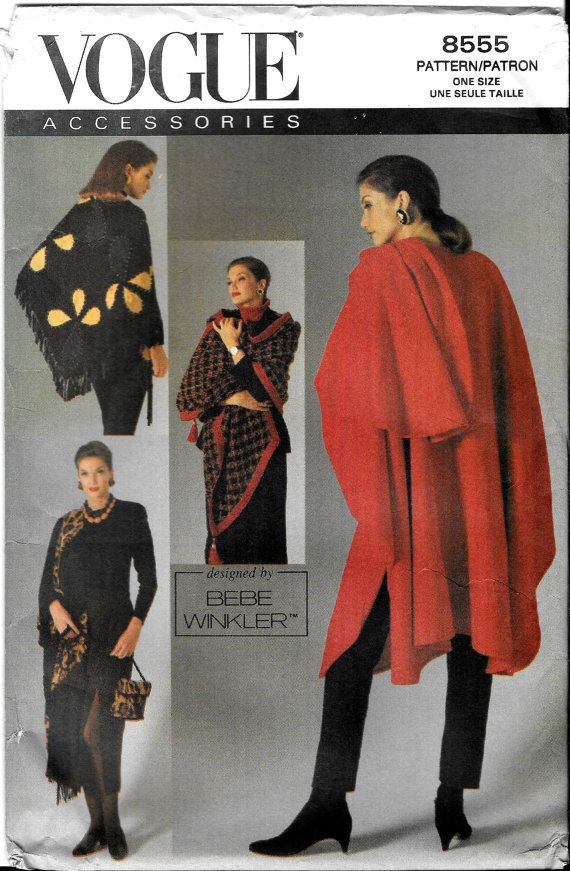 Vintage Designer Cape Shawls And Pouch Vogue By SammyJoPatterns