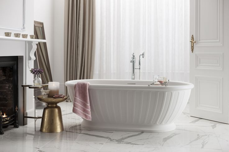 Beautiful bathroom schemes guaranteed to add a touch of luxury - Floor-mounted single lever bath filler in chrome from Arcade Bathrooms.  http://www.arcadebathrooms.com/Products/ProductDetail?prodId=80101&name=Single-lever%20bath%20shower%20filler-floor%20mounted%20inc.%20floor%20mounting%20kit%20-%20nickel