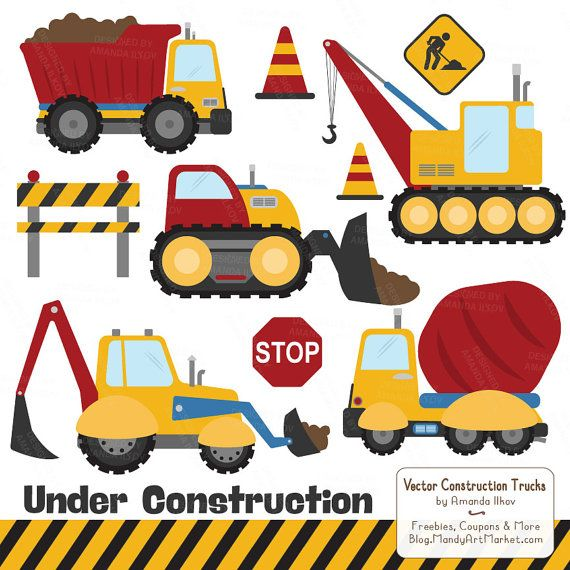 Inspired by my toddlers love of Dig Digs, these construction themed clipart images are great for boys crafts and parties. Includes 11 images featuring a dump truck, cement truck, backhoe, bulldozer and a crane in my primary Crayon Box color theme. Also includes 3 signs, 2 caution cones and 1 striped caution border. PNG and vector formats included!  These cute construction images can be used digitally or in print. Incredibly useful for creating party invitations and decorations, crafts, kids…