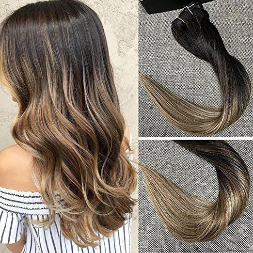 Balayage Clip Ombre Hair Extensions Human Hair Real Remy Hair Extensions 100gram #FullShine #Balayage
