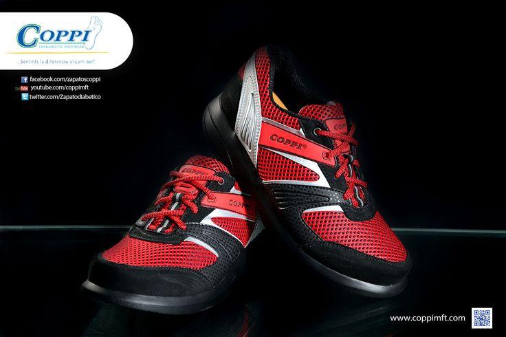 Zapatos para Diabéticos -  Deportivos Doyle Rojo x Negro x Gris. Para el cuidado de los pies, diabétes, artritis, reumatismo, artrosis, gota, espolón calcáneo, fascitis plantar y vena varice.