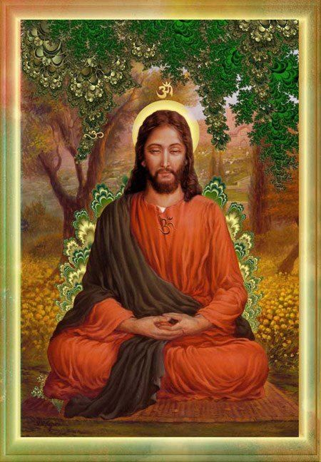 Buddha/Jesus. I love the theory that Jesus studied Buddhism in adolescence. And I love this work of art.