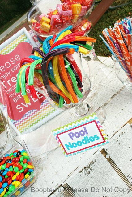 """Pool Noodles"" licorice at a Summer Party #summer #partytreats"