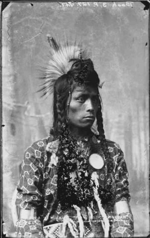 Black And White Photograph Of A Young Sarcee Named Setukko With Elaborate Hair And Some Traditional Clothing.