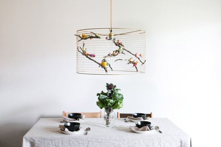 Shipping worldwide! Light works all over the world with local E26 or E27 bulb! A flock of fake birds sit around a bulb, their tiny bodies endowed with feathers – so lifelike, youd expect to hear chirps from the mesh copper cage. We have these lamps in our bedroom and living room - with cage