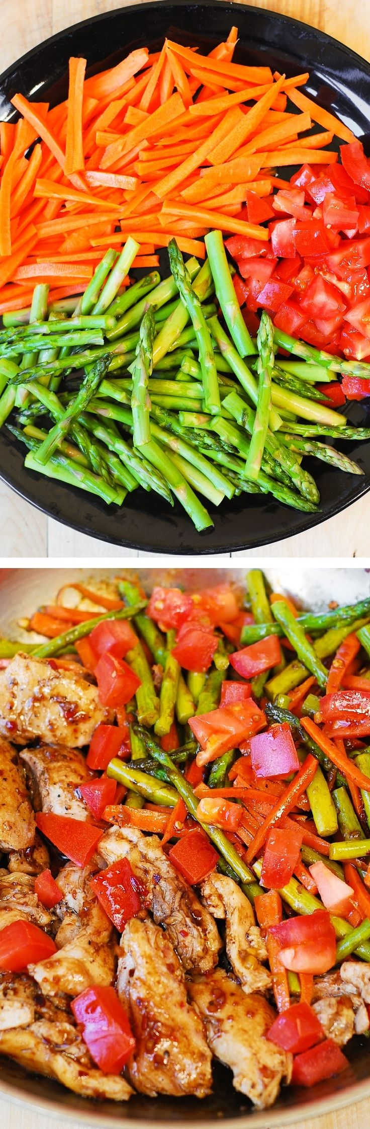 Balsamic Chicken w/ Asparagus & Tomatoes –Made 1/2/2016 RG DELICIOUS , healthy, low fat, low cholesterol, low calorie meal, packed with fiber (vegetables) and protein (chicken). #BHG #sponsored