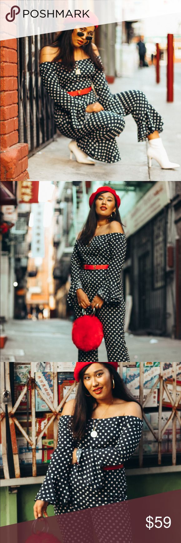 Polka dot jumpsuit Urban outfitters kimchi blue polka dot jumpsuit. Size med or 6. So flattering for girls with curves! Very Parisian! Only worn twice for this shoot. *all photos are my own* Urban Outfitters Dresses Midi