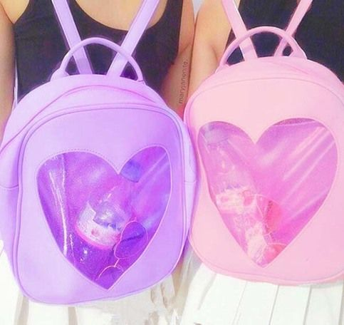 Muti Color Transparent heart glitter pastel backpack 160518S-ShubTx