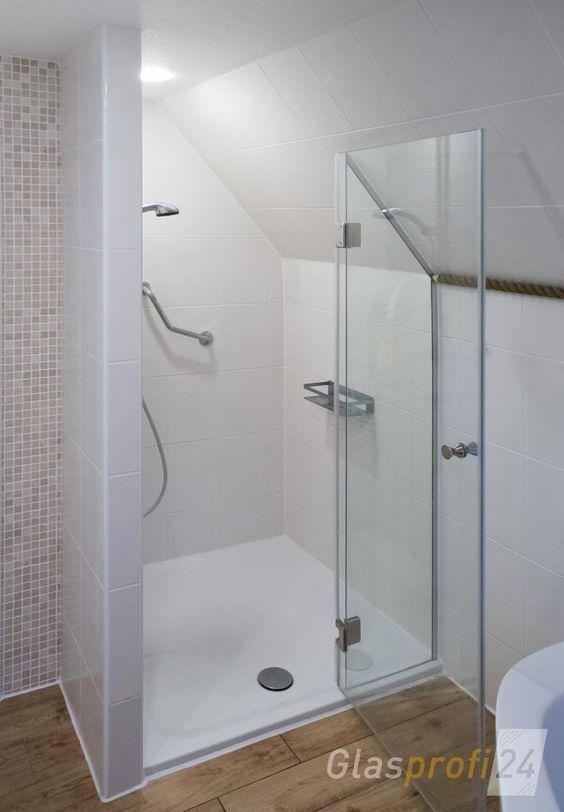 NischenDuschabtrennung mit Klarglas Badezimmer dachschräge