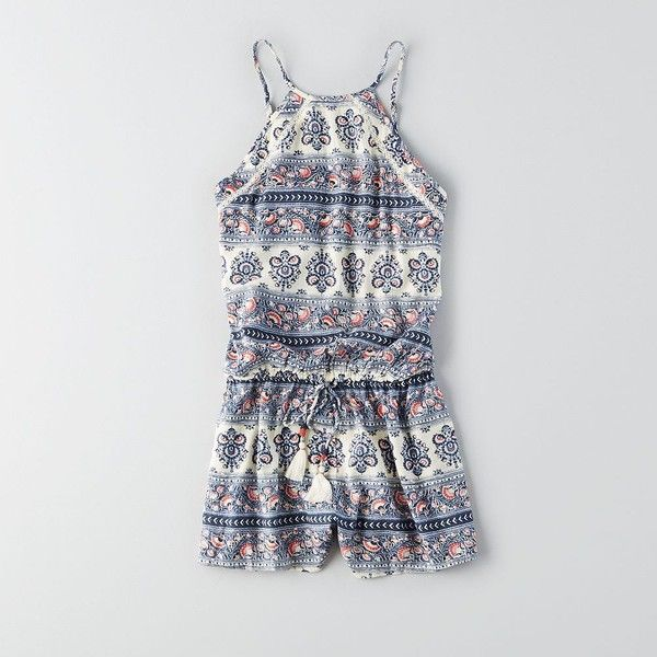 AEO Tassel Hi-Neck Romper (Jumper) ($40) ❤ liked on Polyvore featuring jumpsuits, rompers, white romper, white rompers, american eagle outfitters and playsuit romper