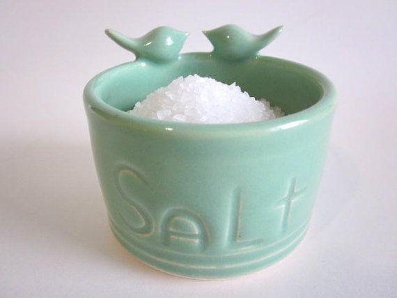 Salt pig mint green  Salt keeper