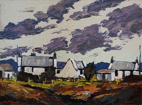 "Alex McKenna, ""Windy Day, Dooagh Achill"" #art #countrylife #country #cottage #sky #clouds #landscape #windy #DooaghAchill #DukeStreetGallery"
