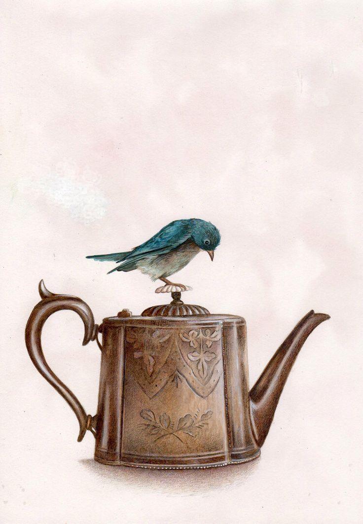 Teiera e un uccello blu, stampa artistica, arte dell'acquerello, arte della parete, arredamento camera da letto, ragazze camera da letto arte, arte Whimsical, Oggettistica per la casa, ragazze regalo di TinyRed su Etsy https://www.etsy.com/it/listing/211572917/teiera-e-un-uccello-blu-stampa-artistica
