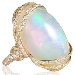 Angara Classic Round Cabochon Opal Solitaire Ring - October Birthstone Ring 3570Xs