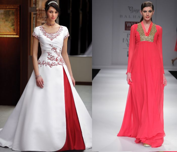 obsessed with the bright pink/red empire wasted gown on the right! indo-western dress with beading and embroidery on the neckline, long sleeves and flowing full skirt