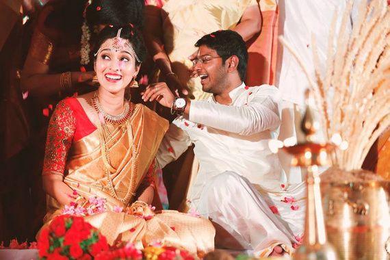 Gold Sari With a Bright Red Designer Blouse by Seematti