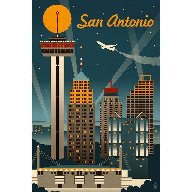 San Antonio, TX - Retro Skyline - LP Artwork (Acrylic Wall Clock), Black (Plastic)