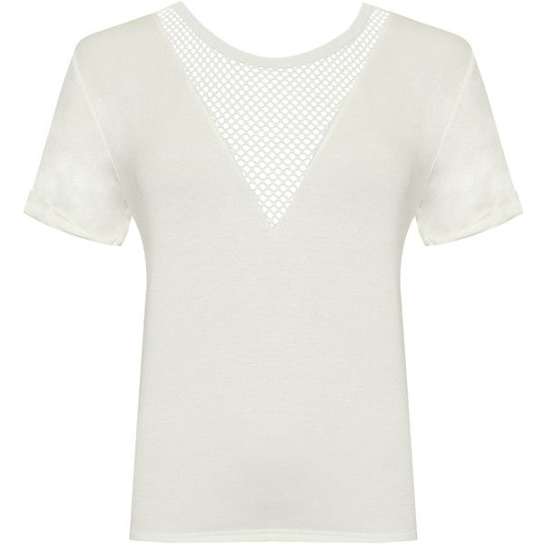 WearAll Plus Size Fishnet Mesh V-Neck Short Sleeve Top ($11) ❤ liked on Polyvore featuring tops, cream, v neck long sleeve top, plus size white tops, white top, womens plus tops and women's plus size short sleeve tops