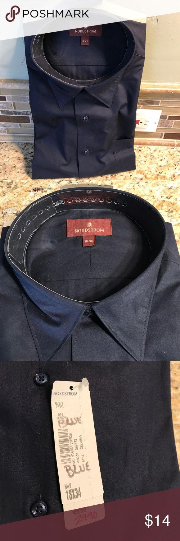Nordstrom Navy Blue Men's Dress Shirt Navy Blue Long Sleeve men's dress shirt size 18-34.  Brand new still has tags Nordstrom Shirts Dress Shirts