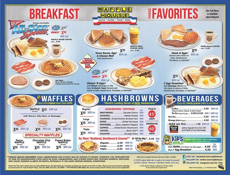 The Waffle House Menu Waffle House Menu Waffle House