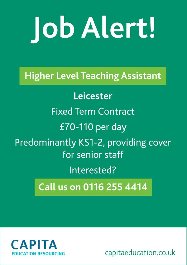 Higher Level Teaching Assistant needed for a contract in Leicester. Interested? Visit our site or call us! #HLTA