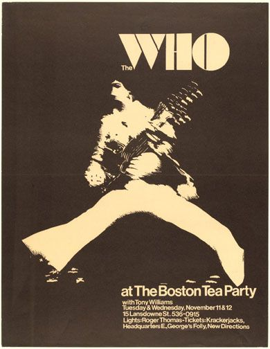 1960's concert poster for The Who at The Boston Tea Party. Designed by Eric Engstrom. #TheBostonTeaParty #RogerThomasLightShow #TheWho