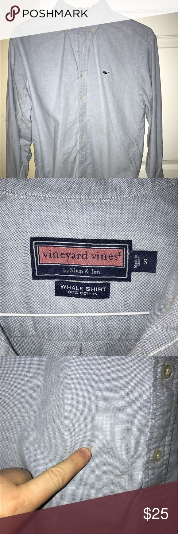 Vineyard Vines Oxford Whale Shirt Light blue vineyard Vines oxford whale shirt. Small stain (photo #3) but otherwise great condition. Vineyard Vines Shirts Casual Button Down Shirts