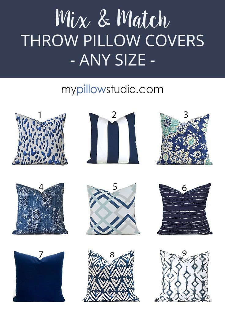 Indoor Pillow Covers Any Size Decorative Home Decor Navy Blue Etsy In 2020 Outdoor Pillow Covers Etsy Pillow Covers Pillows
