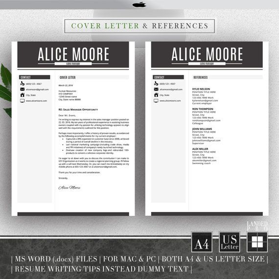 Resume Template Amp Cover Letter Template Professional By