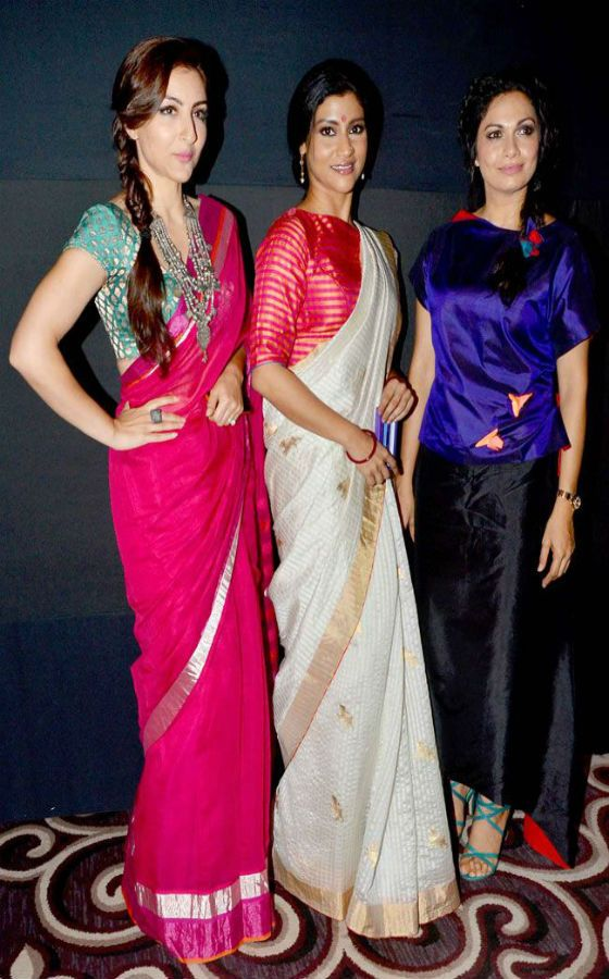 ❀Purva❀ - Soha Ali Khan with Konkana Sen Sharma in saree and Maria Goretti at the Lakme Fashion Week