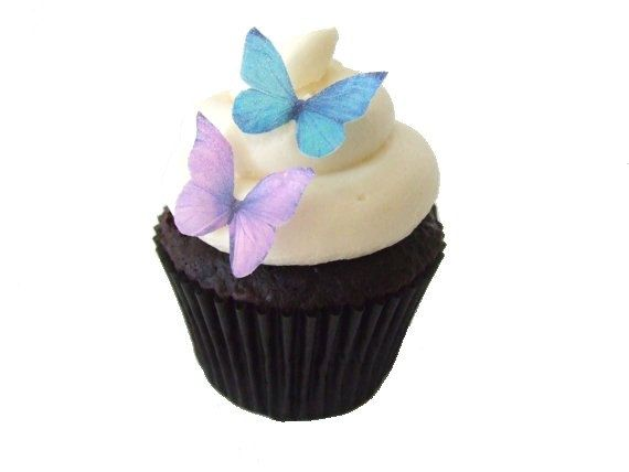 24 Edible Butterflies - 24 Mini Purple and Blue -  Winter Wedding Cake Topper, Butterfly Toppers, 2012 Wedding. $8.95, via Etsy.