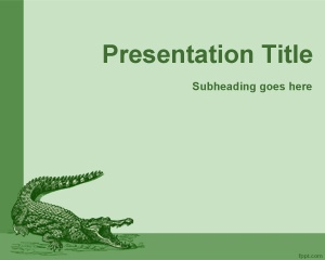 This free cocodrile PowerPoint template is a free green template for reptile presentations in PowerPoint and you can use it also for animal exhibit presentations in PowerPoint where predator species, for example those in museums