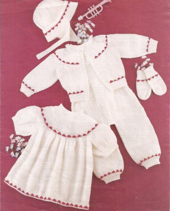 Vintage Baby Girl or Baby Boy's Pram Set Knitting by georgie8109, $2.25