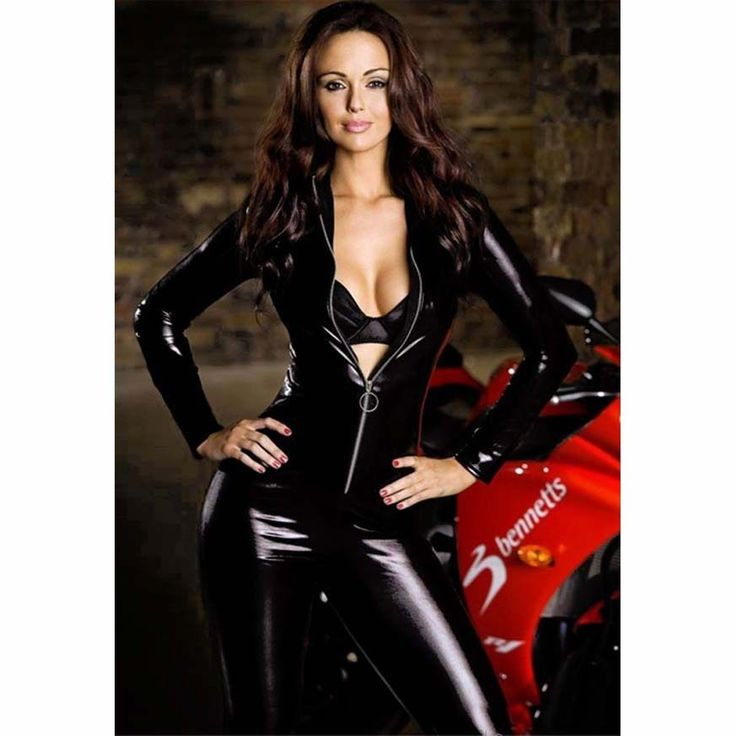 Women's Wet Look Spandex Pvc Catsuit Playsuit Zipper Fancy Dress Plus M-Xxl