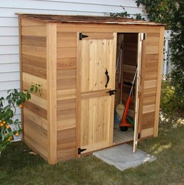 Outdoor shed for bikes and lawn mower possibly under deck