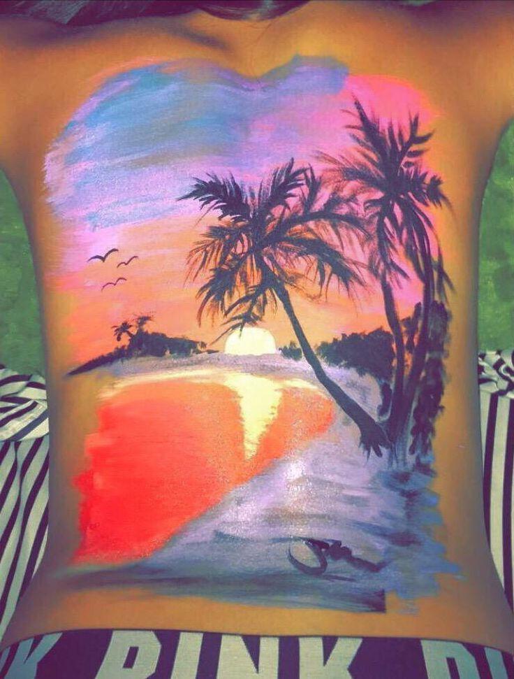 Sonnenuntergang Im Paradies Bodypainting Schminkvorlagen Kunst