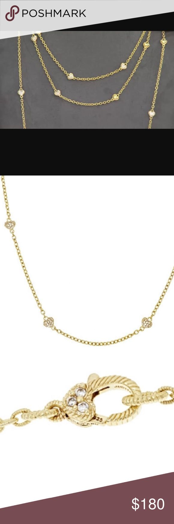 """Judith Rika 36"""" 14k Gold Clad Heart Necklace NEW! Discontinued style. Sold out online. RARE! 14K yellow gold-clad sterling silver heart station necklace Sparkling cubic zirconia Diamonique(R) simulated diamond hearts with lovely rope borders & an angled berge-textured back are strung together on a shimmering textured oval link chain. Lobster claw clasp with bead-set Diamonique simulated diamonds in heart design with berge-textured back Judith Ripka Jewelry Necklaces"""
