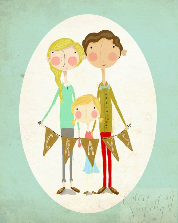 Custom family illustration! These are digitally created and then printed on high quality epson paper.