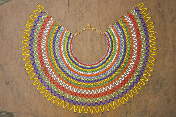 Majestic necklace from Africa beaded rainbow by akwaabaAfrica