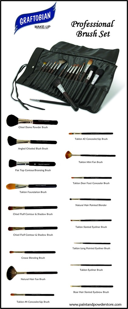Graftobian Professional Brush Set - This 17 Piece Professional Brush Set is designed by a well known media makeup artist and brush expert and made in America by a top US brush manufacturer, Royal and Langnickel.    This is the perfect brush set and a high quality investment with brushes that makeup artists love to use.  The supple solid leather brush roll is also included in this fantastic price.