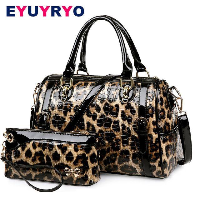 EYUYRYO Дизайнер Кошельки и Сумки Высокого Качества Лакированной Кожи Роскошные Leopard Женщины Сумка Известный Бренд Мешки Плеча мешок основной