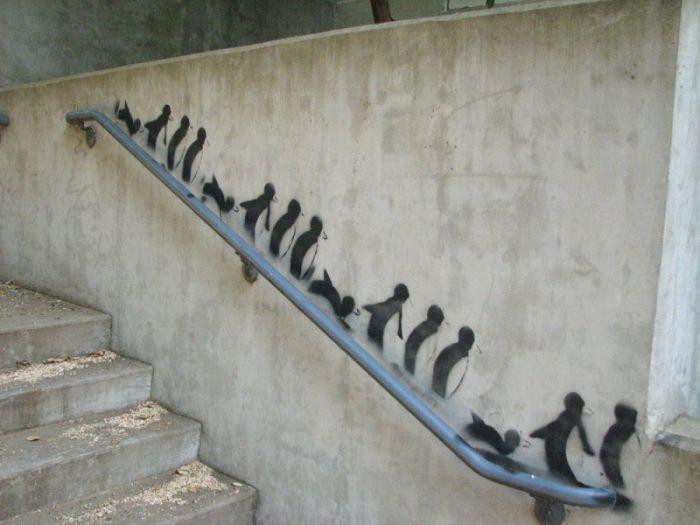 Les Jeux de la rampe ! / Penguins. / Street art.