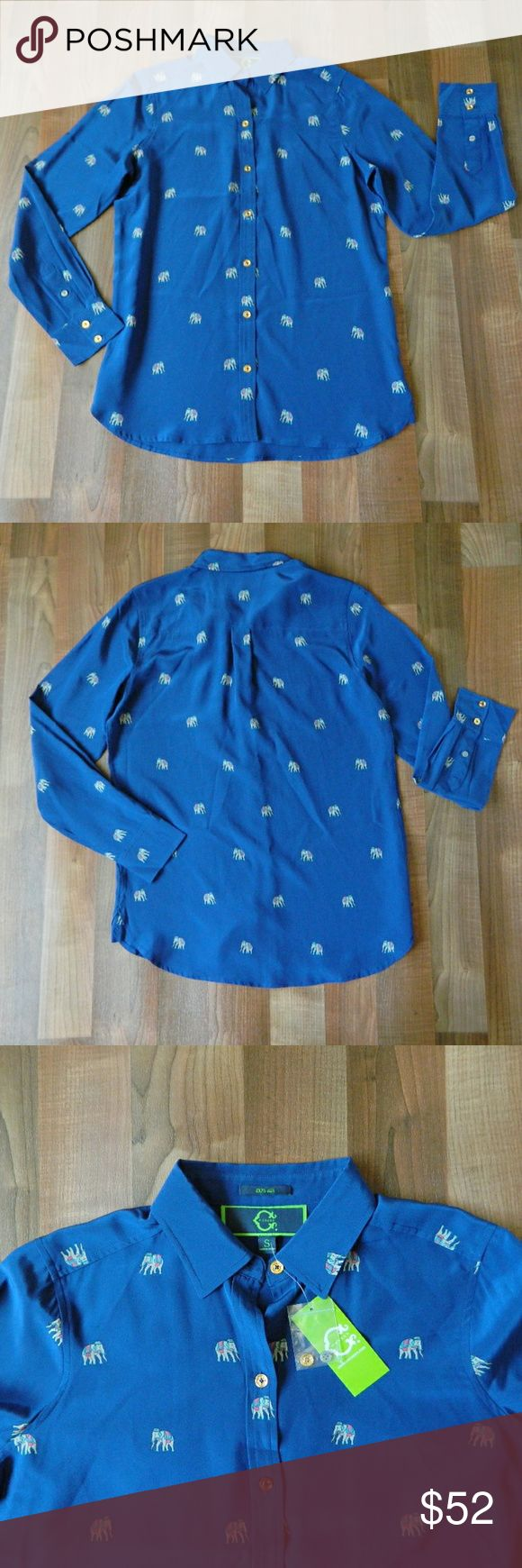 """NWT C. Wonder Silk Blue Elephant Print Blouse Brand new playful long sleeve silk blouse with elephant print by QVC brand C. Wonder. Size small. Made of 100% silk. Measurements: 14 5"""" shoulder to shoulder, 20"""" underarm to underarm, 28"""" long. Sold out on website. No trades, open to reasonable offers.   T00003 C. Wonder Tops Blouses"""