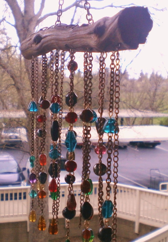 Garden Hanging/Wind Chime Beautiful by Lightworksartworks on Etsy, $42.00