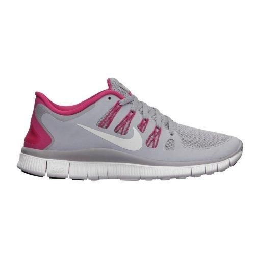 Nike Womens Wolf Grey Vivid Pink and White Free 5.0 Running Shoes